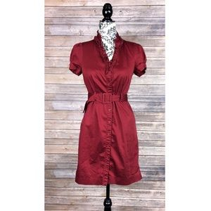 The limited dress red button down belted pin up 6